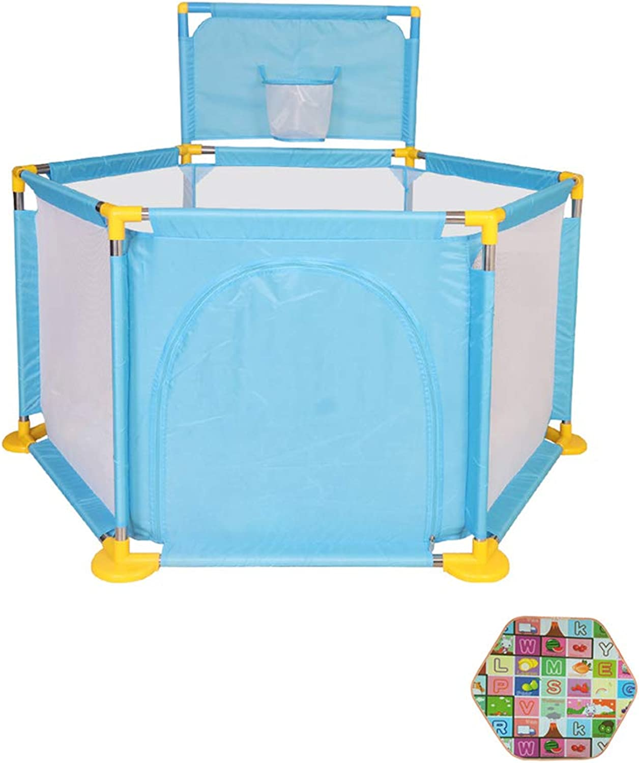 Playpen Playard Indoor Baby Playpen Toddler Play Yard for Girls Boys with Crawling Mat, Shooting Basket, Breathable Mesh (color   bluee)
