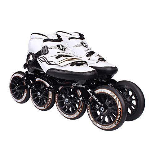 mfw@wewe Patines de Rodillos 4 Ruedas 90mm-110mm Rueda Ajustable Patines en línea, Zapatos de Patinaje Recto (Color : Black, Size : EU 32/US 1.5/UK 13.5/JP 21CM)