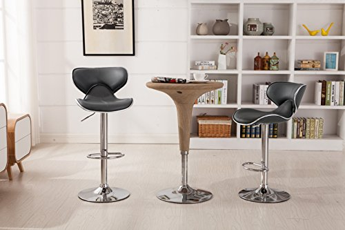 Roundhill Furniture Masaccio Cushioned Leatherette Upholstery Airlift Swivel Barstool, Set of 2,...