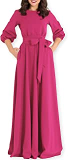 AOOKSMERY Women Elegance Audrey Hepburn Style Round Neck 3/4 Puff Sleeve Puffy Swing Maxi Dress with Belt