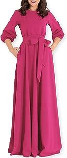 AOOKSMERY Women Elegance Audrey Hepburn Style Round Neck 3/4 Puff Sleeve Puffy Swing Maxi Dress with Belt