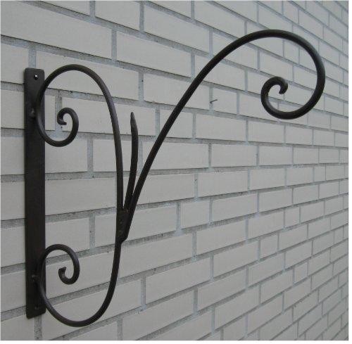 Haken Wandhaken für Blumenampel *Metall / Eisen antikbraun* ca. 35 x 40 cm, Landhaus