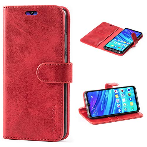 Mulbess Custodia per Huawei P Smart 2019, Cover Honor 10 Lite Pelle, Flip Cover a Libro, Custodia Portafoglio per Huawei P Smart 2019 / Honor10 Lite, Vino Rosso