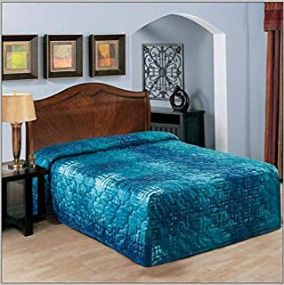 Everest Premium Bedspread Waterfall Style Quilted Polyester Fabric 8oz Per Square Yard Weight (Queen 102x118, Blue)