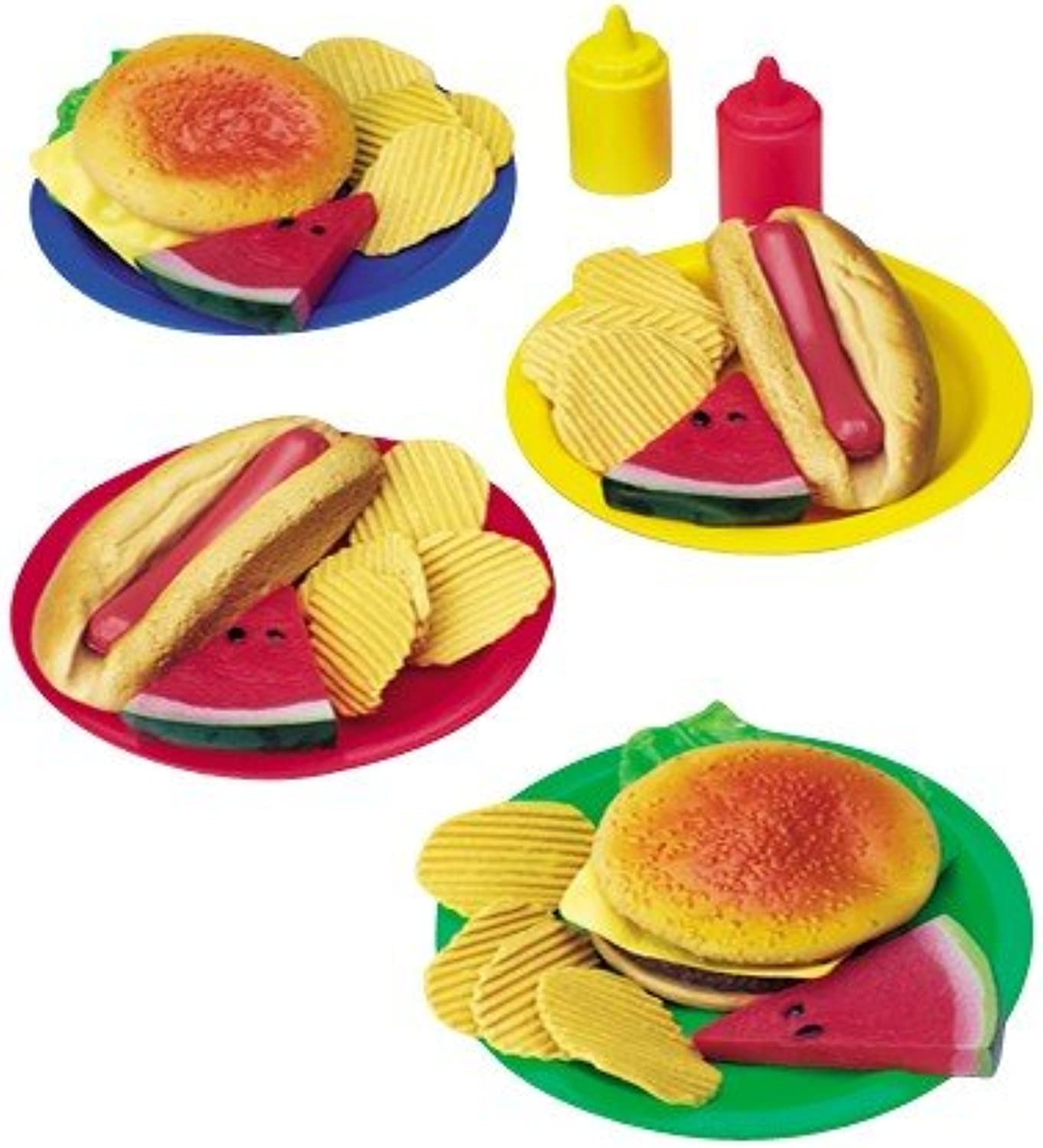 Constructive Playthings BBQ Lunch For Four Playset  Realistic Vinyl Pretend Food  32 Individual Pieces  Ages 3+