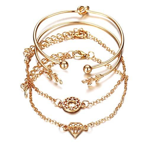 4 pulseras de oro de lujo para mujeres, adolescentes, niñas, boda, fiesta,...