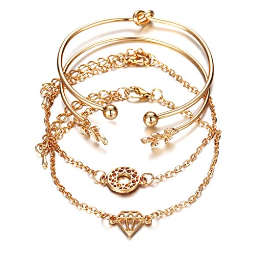 VVXXMO Women Girls 4 Pcs/Set Golden Bracelet,fashion Retro Simple Bangle,Jewelry Luxury Fashion Wedding