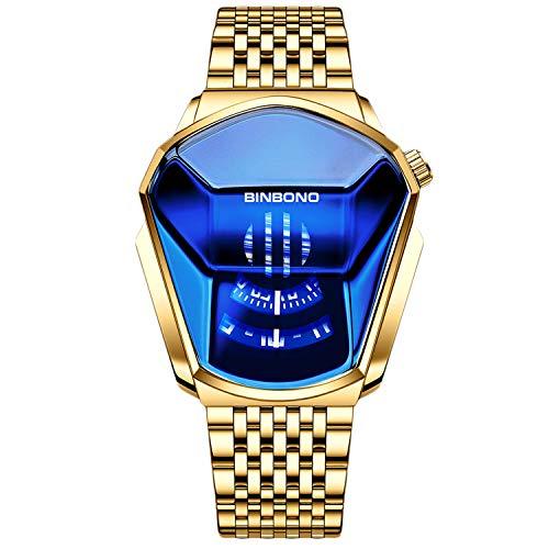 RORIOS Mode Herrenuhr Analog Quarz Armbanduhr Kreative Männer Uhren mit Edelstahl Armband Wasserdicht Cooles Armbanduhren für Herren