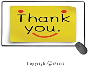 Stitched Edge Mouse pad,Funny,Thank You Emoji Decor On Notepaper Sticky Post It Yellow Smiley Face Print,Yellow Orange Black,Suitable for laptops, Computers, PCs, Keyboards,15.8