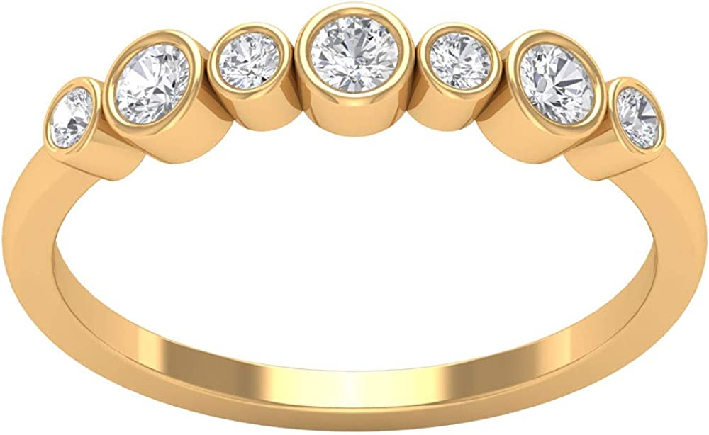 1/4 CT Moissanite Unisex 7 Stone Ring (AAA Quality), 14K Gold