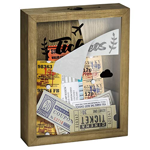 """TJ.MOREE Ticket Shadow Box 8"""" x 10"""" Top Loading Shadow Box Memento Frame with Slot, Customizable DIY Box Sweet Gift, Movie Travel Sporting Events Concert Ticket Stubs - Memory Box"""