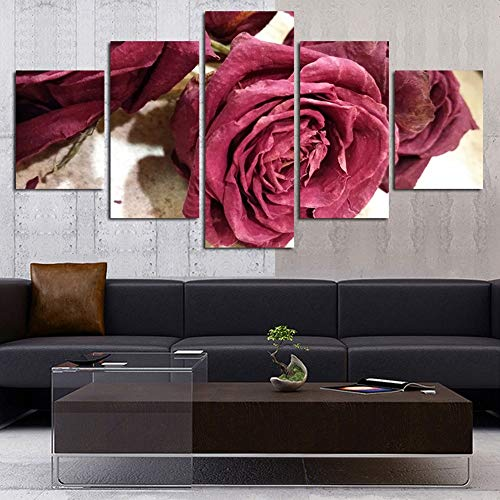 Aicedu kunstdruk op canvas, kunstdruk op canvas, kunstdruk op canvas, 5 bloemen, wand, kunstplanten, foto, nachtkastje, achtergrond, canvas L-30x40 30x60 30x80cm Frame