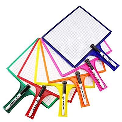 (12) KleenSlate 2-Sided Customizable Whiteboard w/Clear Dry Erase Sleeve for Interchangeable Templates and Graphic Organizers-Bonus 12 Microfiber Cloths with Bookbinder Rings and 12 Markers by KleenSlate ®