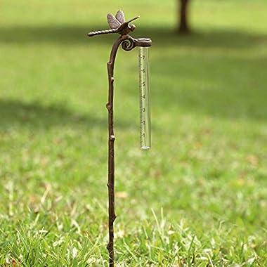SPI Home Rain Gauge Dragonfly Garden Stake Aluminum Gauge for Precipitation