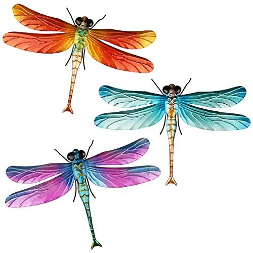 Songjum 3 piezas de decoración de pared de libélula, arte de decoración de pared de libélula 3D colgante multicolor para el hogar, dormitorio, jardín, decoración de interiores y exteriores
