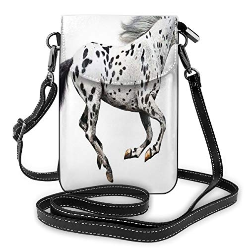 Women Small Cell Phone Purse Crossbody,Powerful Appaloosa Stallion Graceful Royal Pure Blood Champion Equine Print