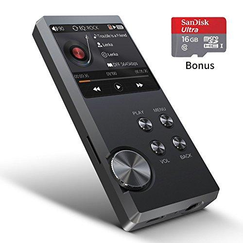 Reproductor MP3 de Alta resolución, Reproductor de música Digital de Audio portátil Bassplay P3000 con Ranura para Tarjeta SD Que Incluye Tarjeta de 16 GB de Memoria expansible de hasta 128 GB