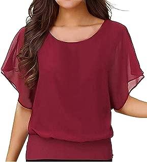 Wobuoke Women's Loose Casual Short Sleeve Chiffon Top T-Shirt Blouse