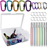 10 Pack Aluminum D-ring Carabiners, YuCool D Shape Keychain Clips Hook Spring-Loaded for Camping Hiking Fishing, with 10 Stainless Steel Wire Keychains, 10 Key Rings - Multi-Color
