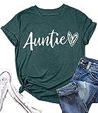 Auntie T Shirt Women Cute Love Heart Print Bless Aunt Tops Tees Casual Short Sleeve Vacation Shirts Tops (Green-1, Medium)