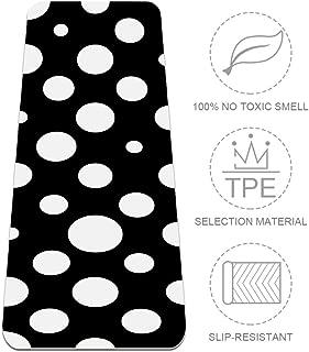 Unicey Black White Polka Dot Yoga Mat Thick Non Slip Yoga Mats for Women&Girls Exercise Mat Soft Pilates Mats,(72x24 in, 1/4-Inch Thick)