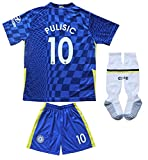 BIRD BOX 2021/2022 Chelsea Home #10 Christian PULISIC Football Soccer Kids Jersey Shorts Socks Set Youth Sizes (24/6-7 Years)