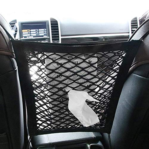 HETOOSHI Rete di Maglia Universale per Auto Sedili Barriera Divisorio per Cani Animali Bambini per Sicurezza Rete del Carico Supporto per Borsa Telefono Comestici (Nero)