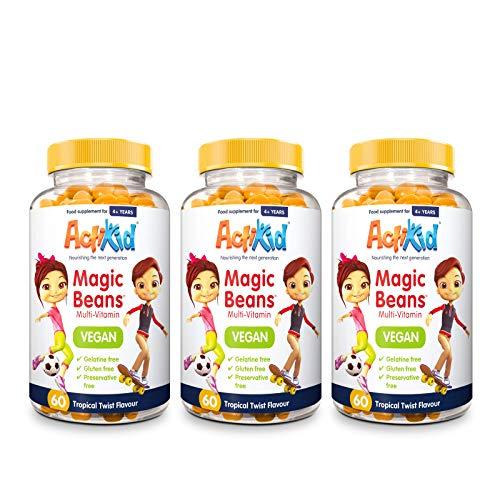 3X ActiKid Magic Beans Vegan Multi-Vitamin 60x Tropical Twist Flavour | Gelatin Free | Kid's Vitamin | Immunity Support
