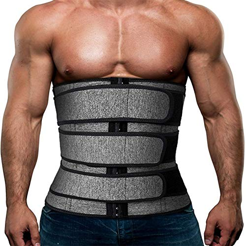 Aniywn Waist Trimmer Belt for Men Waist Trainer Corset Slimming Body Shaper Workout Hot Sweat Band Trainer Shapewear Gray