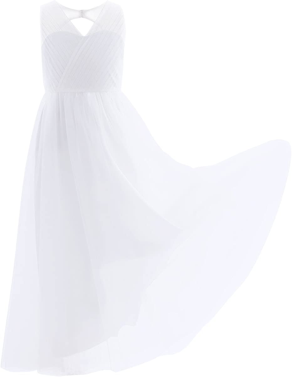 winying Girls V Neck Mesh Splice Pleated Cut Out Back Flower Girl Dress Wedding Prom Formal Dress