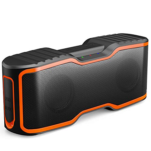 AOMAIS Sport II Portable Wireless Bluetooth Speakers 20W Bass Sound, 15H Playtime, Waterproof IPX7, Stereo Pairing, Durable Design Backyard, Outdoors, Travel, Pool, Home Party Orange (Renewed)
