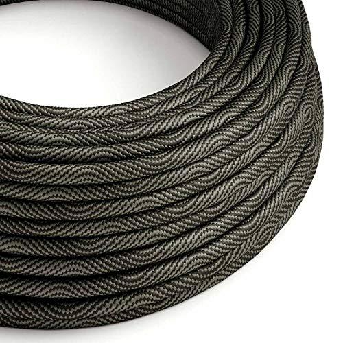 creative cables Cavo Elettrico Rotondo Vertigo HD Rivestito in Tessuto Optical Nero e Grigio ERM67-5 Metri, 2x0.75