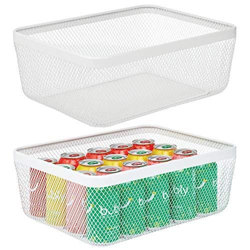 mDesign Farmhouse Decor Metal Wire Food Organizer Storage Bin Basket for Kitchen Cabinets, Pantry, Bathroom, Laundry Room, Closets, Garage, 2 Pack - White