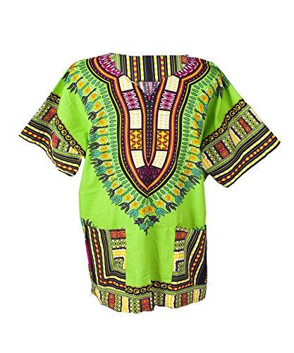 Lofbaz Unisex Dashiki Tradicional De Impresión de África Camisa Hippy XS Verde Claro
