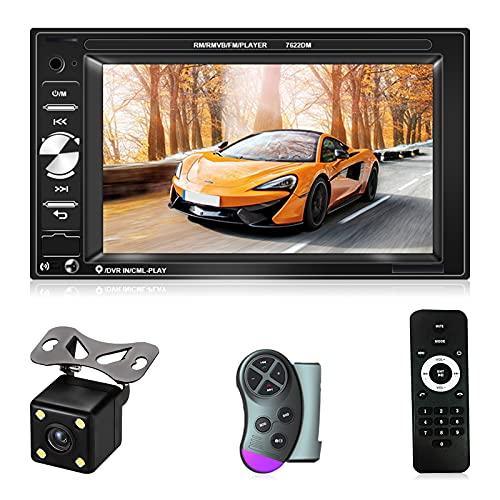 NHOPEEW Radio de Coche 2 DIN con 6.2 Pulgadas Pantalla Táctil Reproductor Multimedia de Coche Soporte /Bluetooth /TF/ USB/ FM con Cámara de Visión Trasera + Control Remoto + Control del Volante
