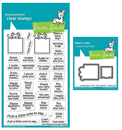 Lawn Fawn Love Poems 4x6 Clear Stamps and Coordinating Custom Dies (LF2167, LF2168), Bundle of 2 Items