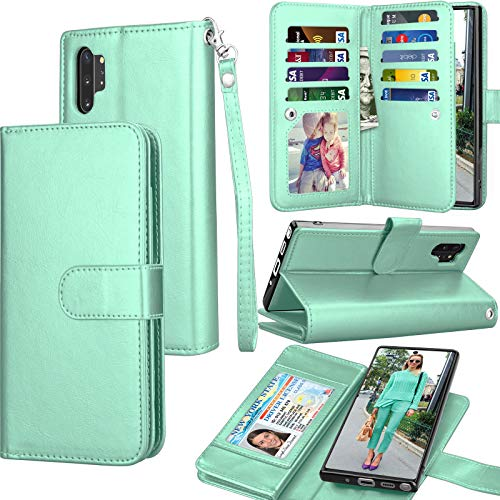 Galaxy Note 10 Plus Case, Galaxy Note 10+ Wallet Case, Luxury Cash Credit Card Slots Holder Carrying Folio Flip PU Leather Cover [Detachable Magnetic Case] Kickstand for Samsung Note10+ [Turquoise]
