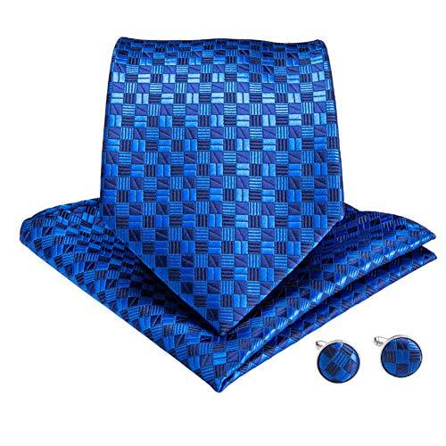 WOXHY Cravate Homme Bleu Plaid 150 cm Longue Cravate Hanky Boutons de Manchette Costume Affaires Mariage fête Cravate Ensemble