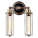 Wandlampe Retro Verstellbar Metall Wandlampe Vintage Wandlampe mit Tube Light Shade Rustikal für Landhaus Schlafzimmer Wohnzimmer Esstisch (keine Glühbirnen) (Öl Bronze 2 Lichter)