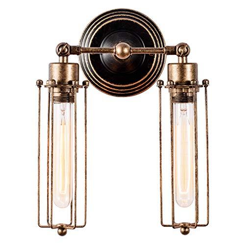 Applique Industriale Vintage Striplight Applique Industrial Regolabile in Metallo Lampade Da Parete Interno Lampade Rustiche E27 per Bar Caffè Hotel(Bronzo, Tubo, Lampadine non incluse)(2 luci)