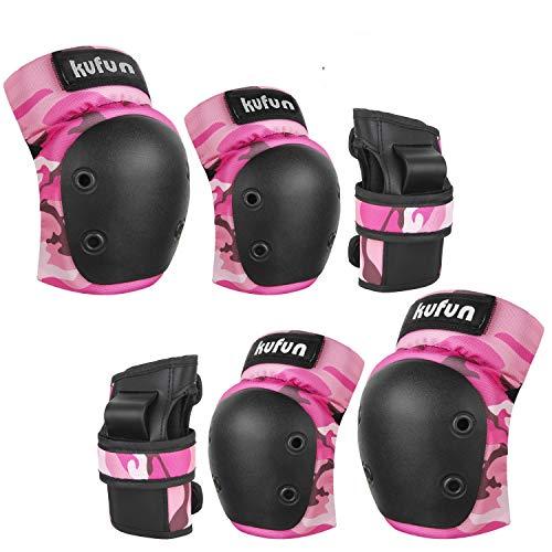 Speedsporting Protektoren Set, 6 in 1 Profi Schutzausrüstung für Kinder & Erwachsene - Verstellbar Knieschoner Ellenbogenschützer Handgelenkschoner für Inliner Skaten Roller Skateboard (Rosa, M)