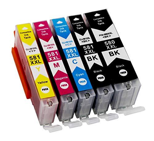 Bergsan 5 Druckerpatronen kompatibel mit Canon PGI-580 XXL CLI-581 XXL für Pixma TR8550 TS6150 TS6250 TS8250 TS8150 TS9550 TR7550 TR8500 TS6151 TS6251 Patronen