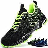 Zapatos de Seguridad S3 Hombre Mujer Calzado de Trabajo Comodo Ligeros con Punta de Acero Transpirable Anti-pinchazos Verde 37