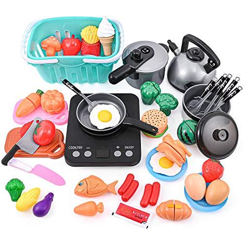 PRAABDC Juego de accesorios de cocina para niños, 46 piezas de juguetes de cocina para niños con cocina electrónica de inducción, olla a presión, utensilios de cocina,...