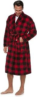 Croft and Barrow Mens Red Buffalo Check Plush Bathrobe Robe