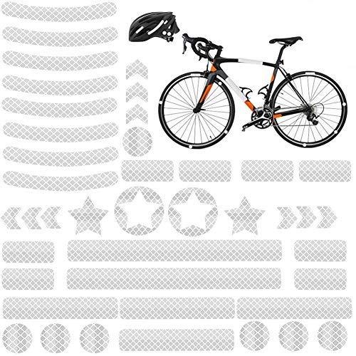 YIKEF Pegatinas Reflectantes, 42 Piezas de Reflectores Adhesivos Reflector Stickers, Visibilidad de Noche, para Cascos, Bicicletas, Cochecitos, Sillas de Ruedas y Más (Plata)
