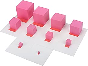 QLL Montessori Materials Pink Tower with 10Pcs Stand Cards 0.7-7CM Early Childhood Education Preschool Kids Toys