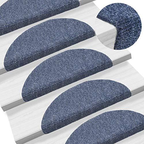 UnfadeMemory 15 uds Alfombrillas para Peldaños de Escalera con Puntos Autoadhesivos,Alfombra Antideslizantes para Escaleras,Tela Punzonada,Altura del Pelo 3mm (Azul, 54x16x4cm)