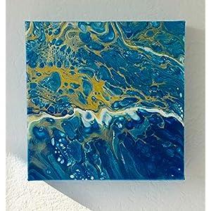 Acryl Pouring I 20 x 20 x 3,5 cm I original handgemaltes Unikat I blau gold weiß I Leinwand auf Keilrahmen I Moderne…