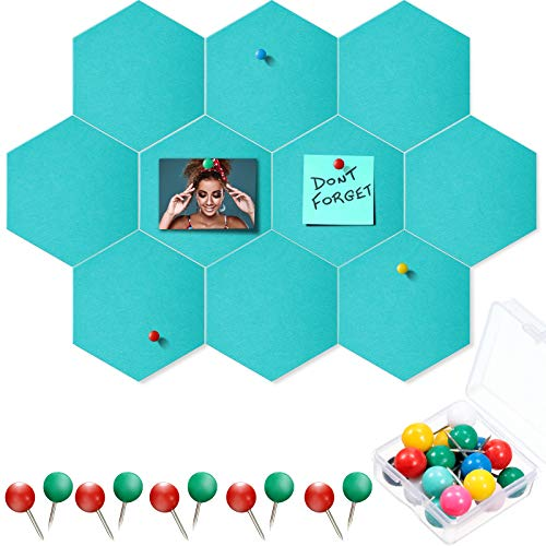 10 Packs Pin Board Hexagon Felt Board Tiles Bulletin Board Memo Board with 20 Pieces Push Pins, Decoration for Home Office Classroom Wall (Aqua, 9 x 7.5 Inches/ 22 x 19 cm)